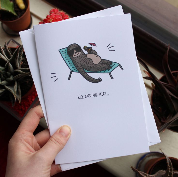 Sloth Greetings Card // Kick Back and Relax // Illustrated Every-Day Greetings Card // A5 + Paper Envelope Included by TheArtCaveCreations on Etsy