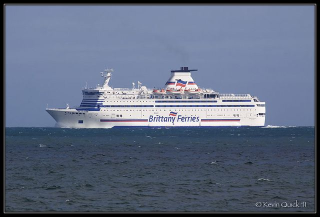 Brittany Ferries Ship Built: 1989 Flag: France Width: 26 m Length: 152 m IMO: 8707329 MMSI: 227286000  Photo taken from Seaview, Isle of Wight, UK, 4 August 2011