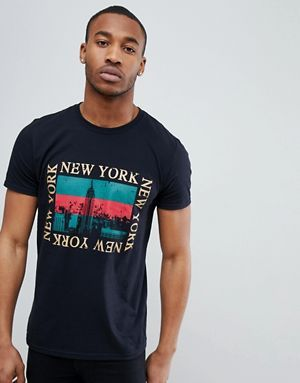 09973d3336d4d boohooMAN T-Shirt With New York Print In Black   MENS GRAPHICS TEE ...