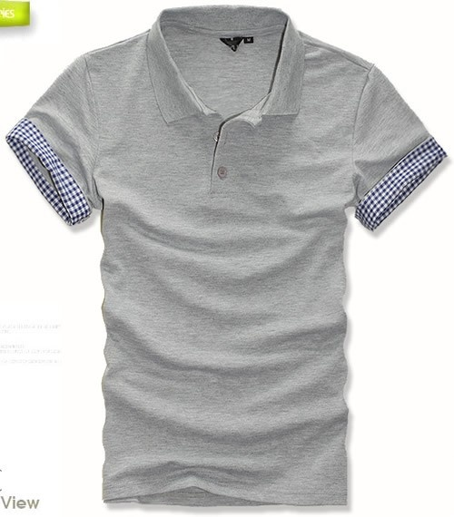 Short Sleeve Light Grey Cotton Polo Shirt