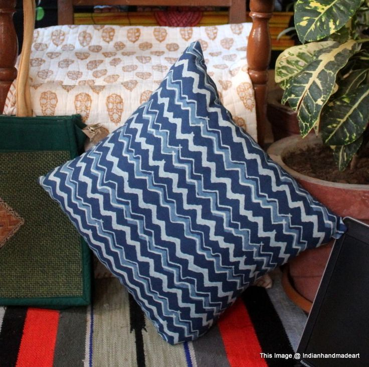 Indigo Blue Cushion Covers Fair Trade Handmade Indian Heavy Weight 100% Cotton 9 #Handmade #Traditional #PillowCoverPillowShamCushionCover