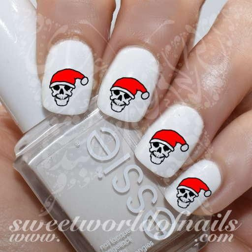 Christmas Nail Art Skull Santa Hat Nail Water Decals Water Slides