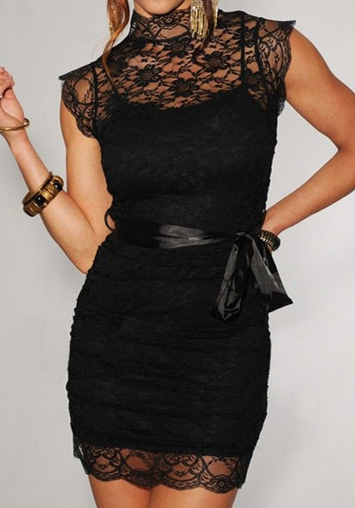 Love the Lace! Love the Bow! Great Cocktail Dress! Black Patchwork Hollow-out Round Neck Above Knee Lace Dress #Sexy #Black #Lace #Cocktail #Dress