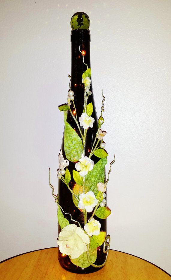 Glass Bottle  Wine Light Elegamt Flowers by LuminousBottles, $24.99