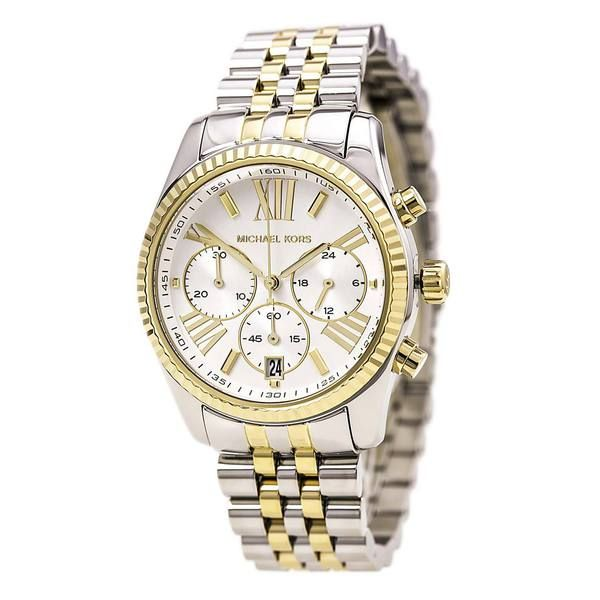 Michael Kors MK5955 Women's Lexington White MOP Dial Two Tone Steel Chrono Watch