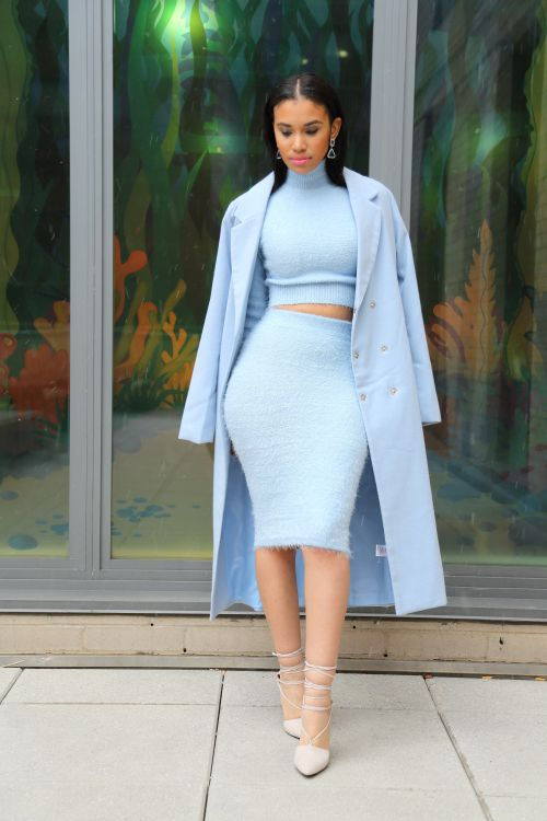 ecstasymodels:  BELLA  Outfit deets: sweater coord set from Shuku New York, coat from Boohoo (last year), shoes from Missguided  Fashion By Spikes And Sequins