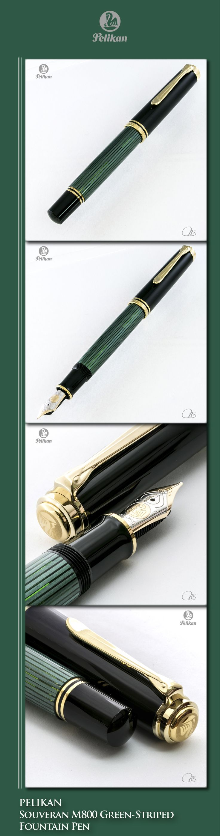 PELIKAN Souveran M800 Green-Striped Fountain Pen (acrylic & resin body, gold-plated trim, 18kt dual-tone solid gold nib) - 2016 / Germany