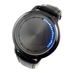 White & Blue LED Touch Screen Watch - Main Function: Japanese-inspired blue LED digital touchscreen watch Screen: Circumferential blue and white LED encircling the mouth of The Abyss! Bracelet: – Color: Black – Material: Snake skin textured leather – Length: ~ 180 mm with 7 holes for wrist adjustment Clasp: Buckled... - http://ehowsuperstore.com/bestbrandsales/watches/white-blue-led-touch-screen-watch