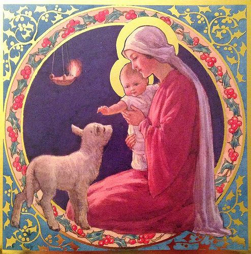 """Margaret Tarrant Christmas Card - """"Madonna and Child with Lamb"""" 