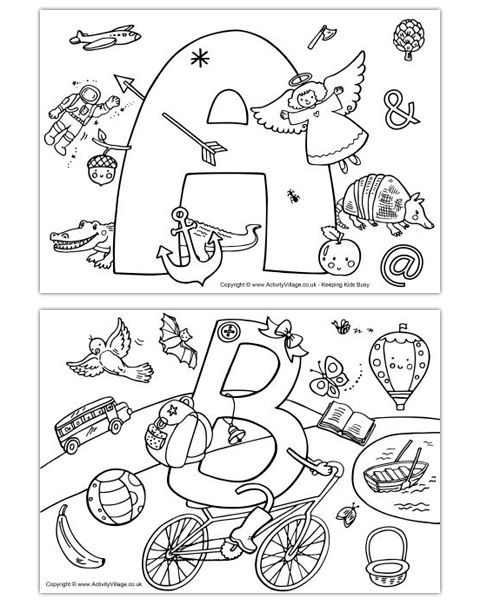 I Spy Alphabet Colouring Pages Abc coloring