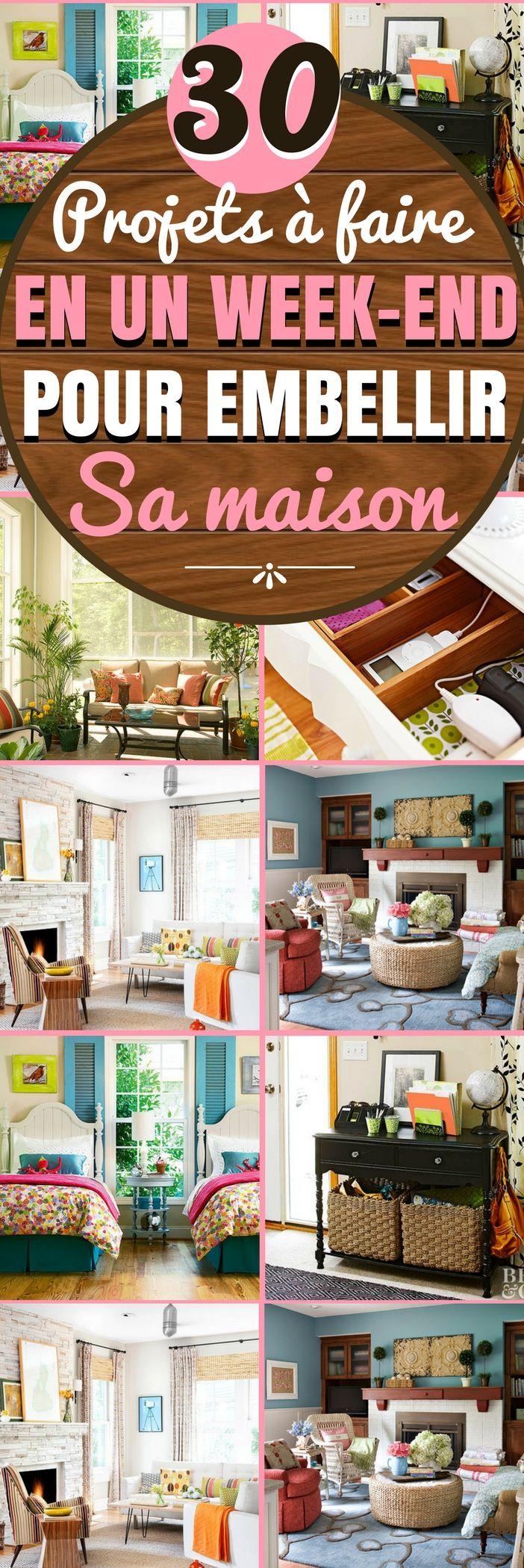 Voici 30 idées / projets à faire le week-end pour améliorer et embellir votre maison. Si vous êtes un peu bricoleur ou expert en DIY, vous êtes déjà sur la bonne voie pour économiser de l'argent. Mais avec de bonnes idées et une bonne planification, vous pouvez embellir votre maison avec seulement quelques idées de projet. #diy #maison #interieur #idéesdéco