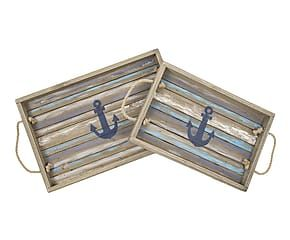 Set di 2 vassoi in legno Anchor - max 50x20 cm