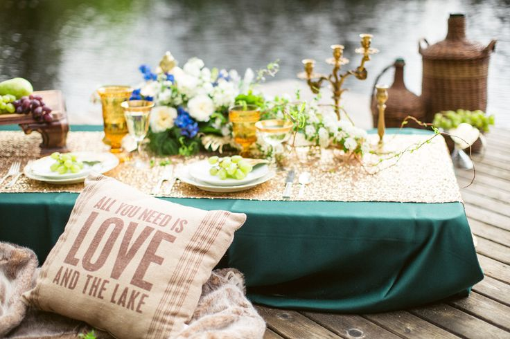 Forest Green and Gold! Love this color combination. Style Me Pretty's latest blog featured our table linens for a romantic small wedding.