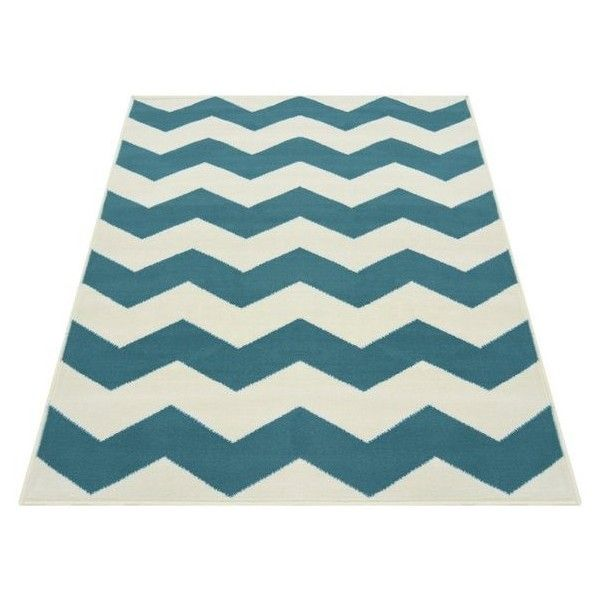 Chevron Rug 60x110cm Teal ($24) ❤ Liked On Polyvore Featuring Home, Rugs,