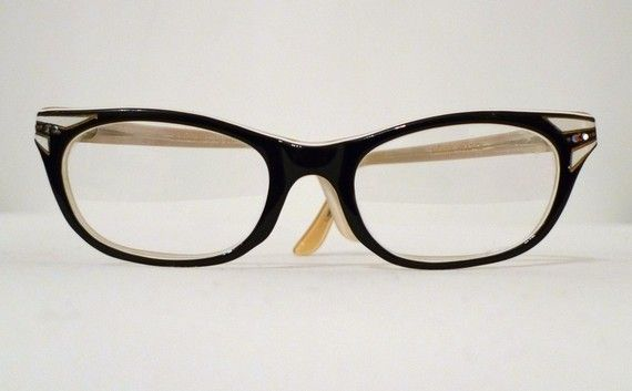 Cat Eye Rhinestone Eyeglass Frames : Swank Black Horn Rimmed Rhinestone Cat Eye Eyeglass Frames ...