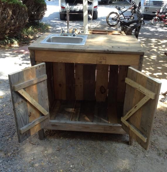 Sink Cabinet For Outdoor Entertainment Area Kitchen Or Bathroom Made With Reclaimed Wood Rustic Outdoor Kitchens Outdoor Kitchen Sink Outdoor Kitchen Plans