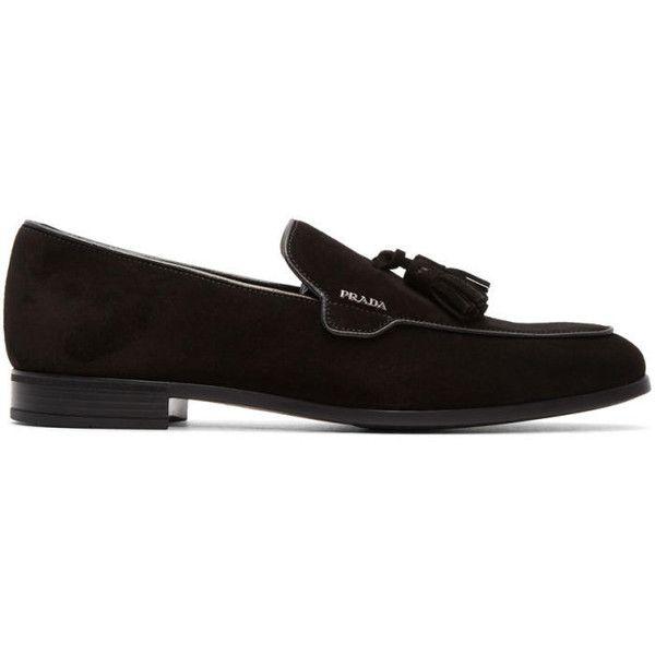 Prada Black Suede Tassel Loafers (40.690 RUB) ❤ liked on Polyvore featuring men's fashion, men's shoes, men's loafers, black, mens suede shoes, mens tassel loafer shoes, mens loafer shoes, mens tassel shoes and prada mens shoes