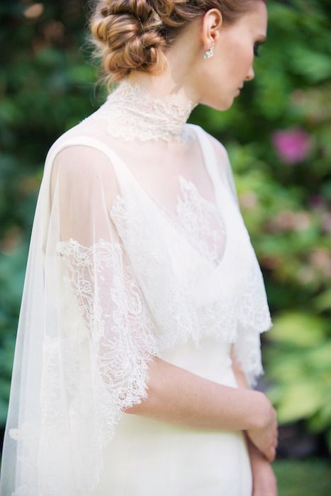High neck bridal cape. 10 Ways to Finish Your Look With a Bridal Cape on @intimatewedding Photo by @melissagidney #weddingdress #weddingcape #highneckweddingdress