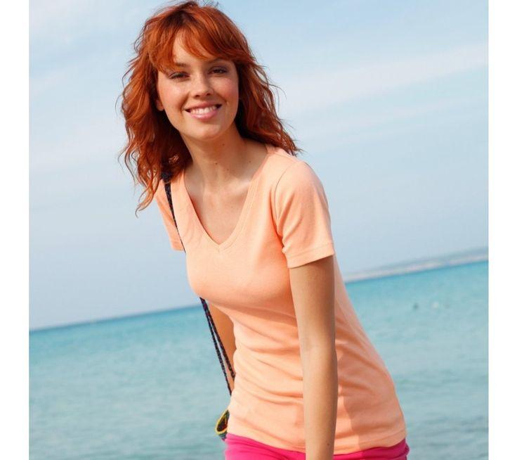 Dámské bavlněné tričko s výstřihem do V | vyprodej-slevy.cz #vyprodejslevy #vyprodejslecycz #vyprodejslevy_cz #tshirt