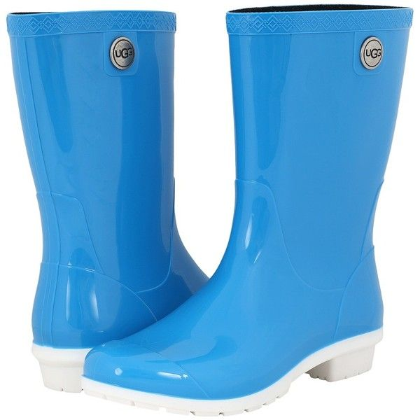 UGG Sienna (Neon Blue) Women's Boots (€60) ❤ liked on Polyvore featuring shoes, boots, knee-high boots, slip on boots, waterproof rubber boots, water proof boots, slip-on shoes and ugg boots
