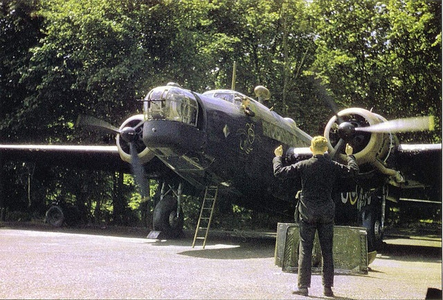 Starting up the Vickers Wellington Mk1c engines against the backdrop of Mildenhall's Mons Wood - East Anglia - England - 149 Squadron RAF - 1941
