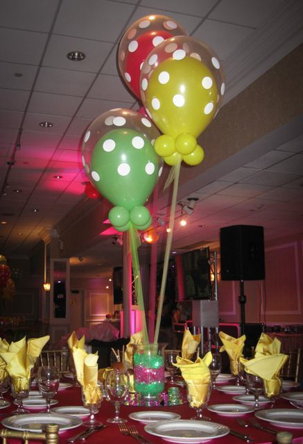 Polka dot balloon centerpiece with double bubble balloons