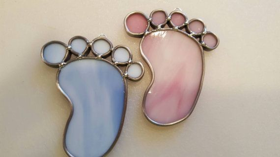 Stained glass baby foot print