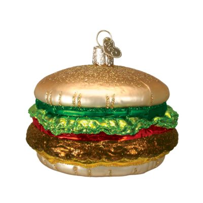 """Cheeseburger+Christmas+Ornament+32065+Merck+Family's+Old+World+Christmas+Material: +mouth+blown,+hand+painted+glass+Size: +3.5""""+Includes+Free+Gift+Box+Hang+Tag: +"""