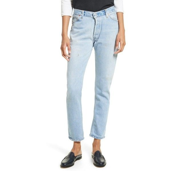 Women's Re/done Reconstructed Relaxed Straight Jeans ($305) ❤ liked on Polyvore featuring jeans, no destruction, relaxed fit straight leg jeans, saggy jeans, cuffed jeans, slouch jeans and relaxed straight fit jeans