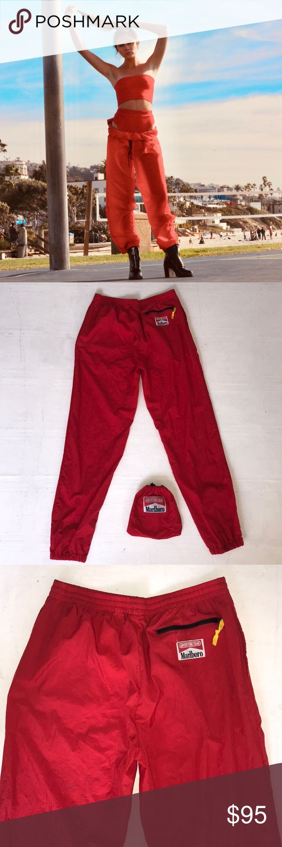 MARLBORO ADVENTURE red Pants mens size large Perfect condition! Message me with any questions! Happy Shopping! Vintage Pants Track Pants & Joggers