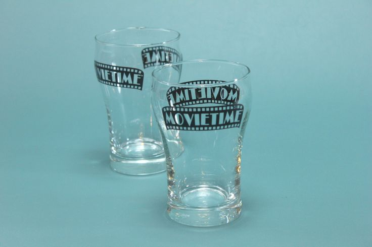 Vintage Movie Time Beverage Drinking Glass Set PAIR Vintage Retro Theatre Popcorn 80's 90's Showtime TV by RetroSpecList on Etsy https://www.etsy.com/listing/252795490/vintage-movie-time-beverage-drinking