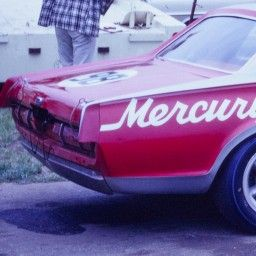 Car number 98, Bud Moore Cougar of Ed Leslie and Peter Revson on the pit road at the Marlboro Trans-Am race.