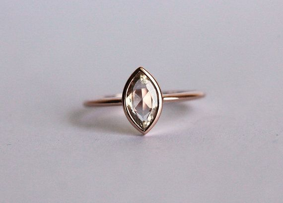 Rose Gold Diamond Engagement Ring Champagne Diamond by MinimalVS