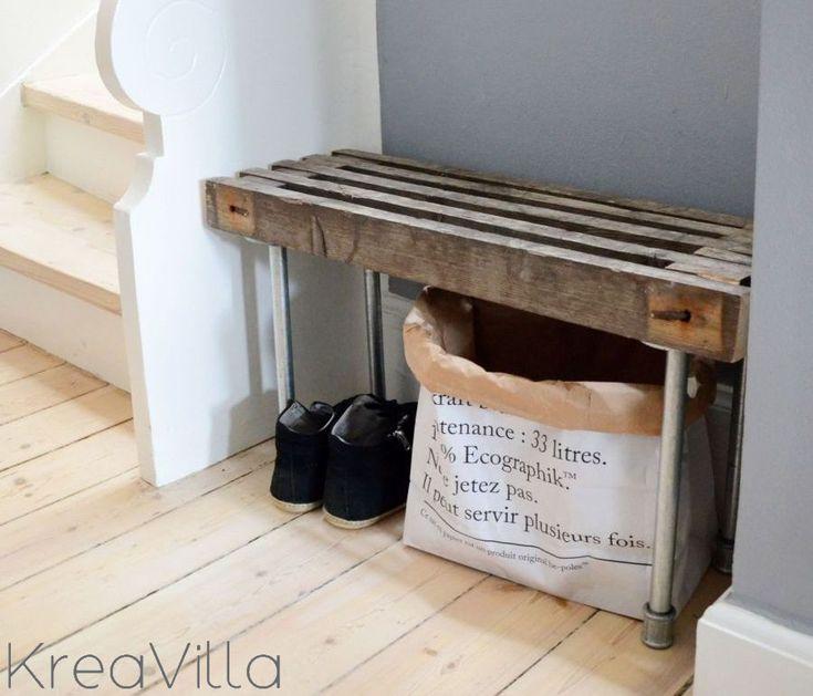 DIY:  Bænk af treller // Bench of old wood scaffolding @KreaVilla