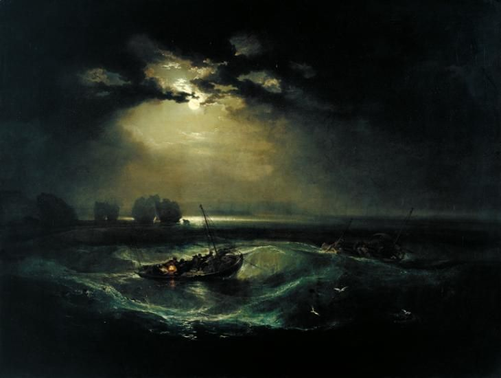 'Fishermen at Sea' by Joseph Mallord William Turner exhibited 1796 The first oil painting Turner exhibited at the Royal Academy, this is a moonlit scene in the tradition of Horace Vernet, Philip de Loutherbourg and Joseph Wright of Derby. These painters were largely responsible for fuelling the 18th-century vogue for nocturnal subjects. The sense of the overwhelming power of nature is a key theme of the Sublime. The potency of the moonlight contrasts with the delicate vulnerabil...