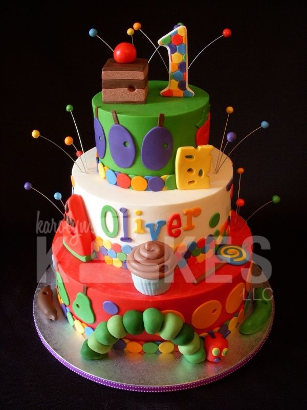 Very Hungry Caterpillar Cake....LOVE this one, wish I had seen it before..Oh well...His cake was cute too!