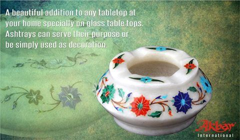 A beautiful addition to any tabletop at your home specially on glass table tops. Ashtrays can serve their purpose or be simply used as decoration. #Beautiful #Ashtrays #MarbleInlay #Decorative #TableTopDecor