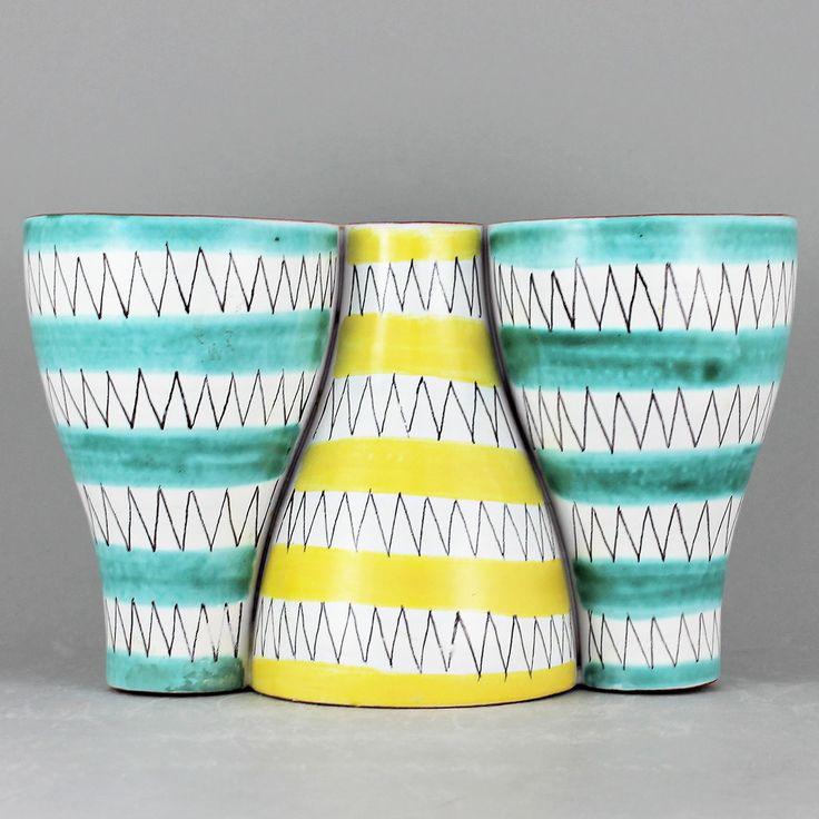 Stig Lindberg (1950s) Stunning Yellow and Green Faience Vase/Candleholder