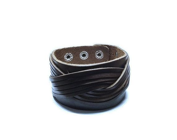 Brown Leather Cuff Bracelet Braided Leather by BriAndAshStore