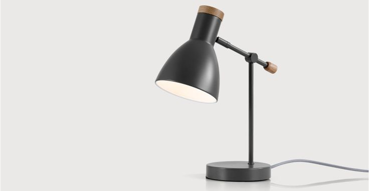 Cohen Bedside Table Lamp, Deep Grey and American Oak | made.com