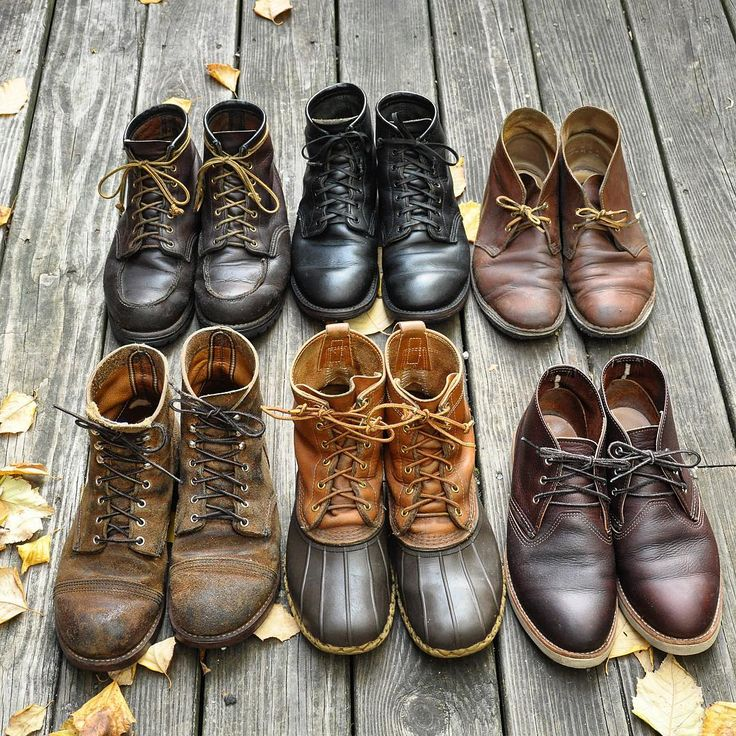 """Archival boot shot!  From left to right, top row: Red Wing 4183 in Briar Oil Slick Red Wing 9014 in Black Chromexcel Clarks Desert Boots in Beeswax  Bottom row: Red Wing 8113 in Hawthorne Muleskinner LL Bean 8"" Bean Boots Red Wing 3141 Chukkas  #goodyearwelt #goodyearwelted #redwings #clarksdesertboots #beanboots #clarks #clarksoriginals #leatherboots #horween #chromexcel #desertboots #redwingboots #beckman #boots #ironrangers #mensfashion  #workwear #myredwings #redwingsheritage #rawfie"