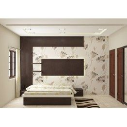 Contemporary bedroom furniture set made up of plywood with laminate finish. Consisting King size bed, side tables, wall paper, back panel and false ceiling. Get inspired with the quality furniture by scale inch and make the bedroom space look gracious. The color combination and the theme selection is absolutely made perfect to apt a modular home. This is exclusively brought to you by Scale inch at affordable price.