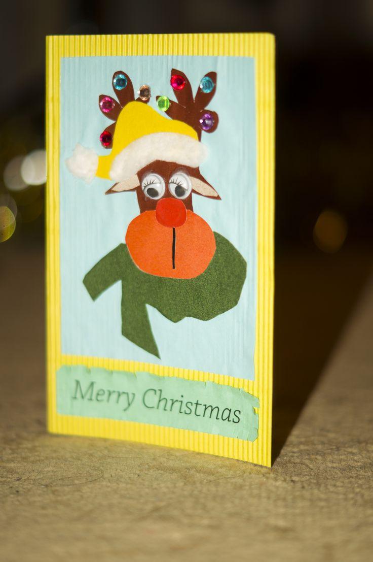 deer, новогодний олень, открытка на новый год