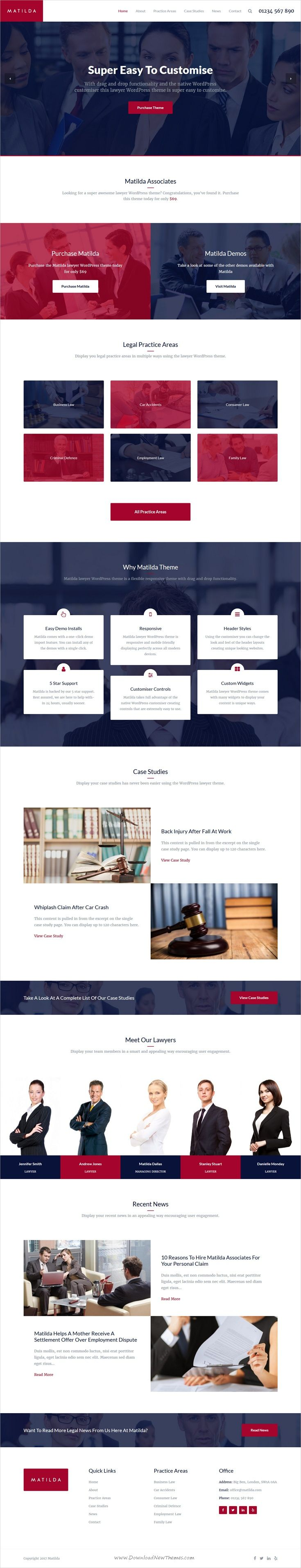 Matilda is clean and modern #design 3in1 responsive #WordPress theme for #lawyer, interior design and accountant agencies website download now..