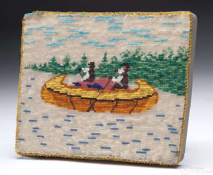 Ojibwe: manidoominensikaan | Loom-woven beaded panel, decorated with glass seed beads featuring a scene of two figures in a canoe...1901