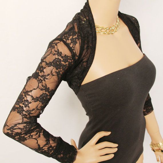 Shrug / Lace Shrug / Black Lace Shrug / Bolero by MIRIMIRIFASHION