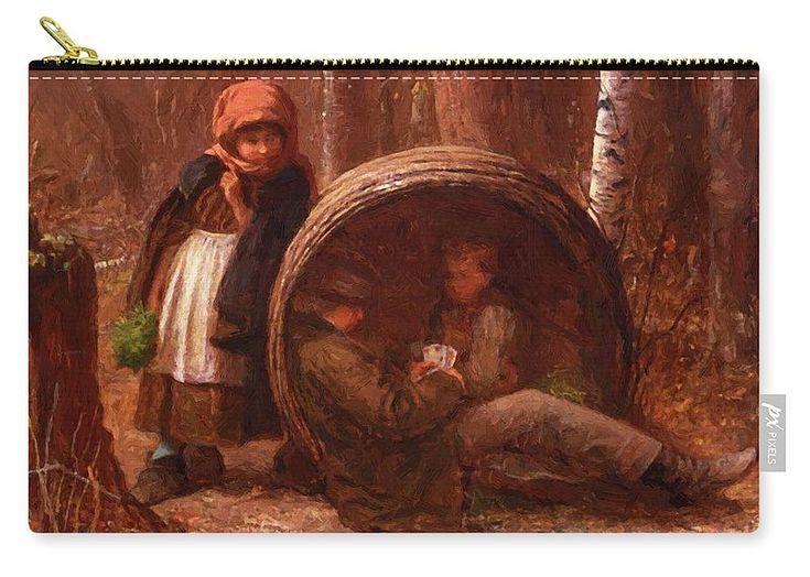 The Carry-all Pouch featuring the painting The Eavesdropper 1866 by Johnson Eastman