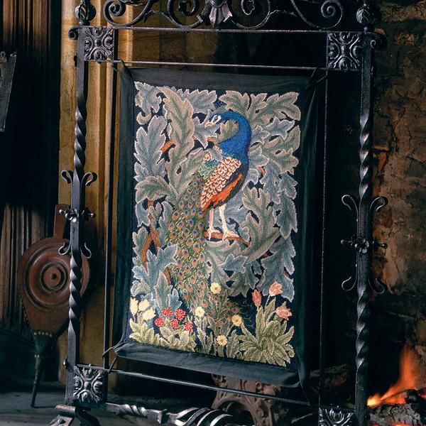 Peacock needlepoint kit for firescreen or wall hanging. Adapted by Beth Russell from The Forest tapestry by William Morris