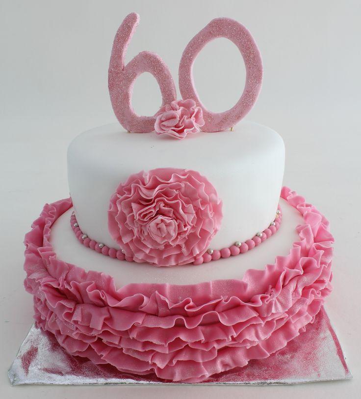 60ste verjaardag, ruffles, cake, blingbling, anniversary, birthday, celebration, pink