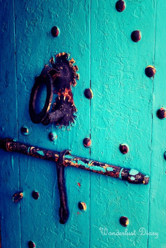 Travel Photography, Morocco, Rustic vibrant doors by WanderlustDiary on Etsy